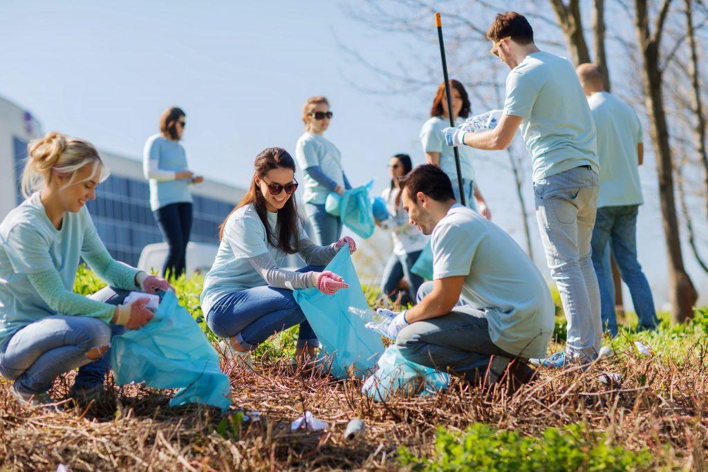 Group of volunteers picking up rubbish