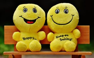 Twp yellow smiling plush toys
